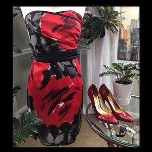 The Limited Black FLoral Strapless Dress Sz 12